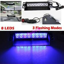 New 8LED Car Dash Strobe Blue Light Emergency Police Warning Safety Flash Lamp