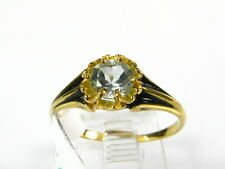 Victorian 14k Yellow Gold Sterling Natural .50ct Blue Topaz Floral Ring I052BT