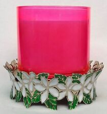 1 Bath Body Works FLORAL WREATH PEDESTAL Large 3-Wick Candle Holder Sleeve 14.5