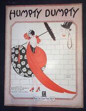 Sheet Music Art Humpty Dumpty Beautiful Flapper Girl Art Deco Eye Grabber