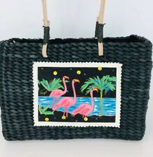 Sun Sand Flamingo Black Caribbean Woven Straw Purse Handbag Beach Shoulder Bag