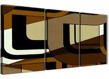 3 Pannello Marrone Crema Pittura sala da pranzo arte in Tela-ASTRATTO 3413 - 126 cm