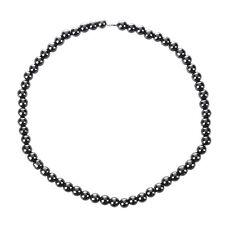 Frauen Maenner Dunkelgrau Rundes Haematit Korn Magnetische Halskette T0G1