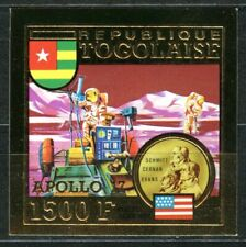 TOGO 1973 APOLLO 17 SPACE ROVER MOON Gold Foil Or Michel 965 B cote 50
