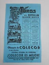 1968 Cartel en Seda Toros en Sevilla Curro Romero Palomo Linares Angel Peralta