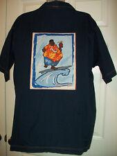 Mens XXL Platinum FUBU Fat Albert Surfing Navy Blue S/S Button Down Camp Shirt