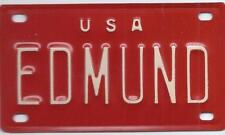 EDMUND USA RED Vintage Mini License Plate  - Name Tag - Bicycle Plate!