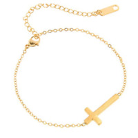 Stainless Steel Cross Anklet Womens Foot Jewelry Gold Cross Ankle Bracelet NEW
