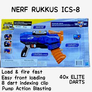 NERF N-strike Elite Rukkus ICS-8 Blaster + 40 Darts Mega Pack Kids Gun
