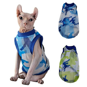 Hairless Cats Sphynx T-Shirts Summer Mesh CAMO Vest Pleasantly Cool Breathable