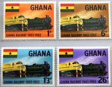 GHANA 1963 162-65 156-59 60th Ann Railroads Eisenbahn Trains Züge Railway MNH