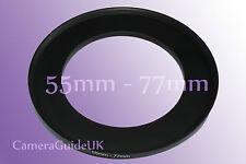 55mm a 77mm 55mm-77mm filtro de escalonamiento Step Up Anillo Adaptador 55mm-77mm Reino Unido