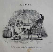 GRANDVILLE (Jean-Ignace-Isidore Gérard dit): lithographie originale. Esprit des