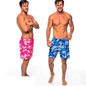 Hawaiian Flower Mens Boardshorts - Tropic Floral Print Swim Trunks - Brand New