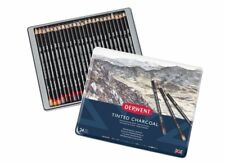 Derwent Tinted Charcoal 24 Tin Set of Soft Natural Tone Colour Pencils
