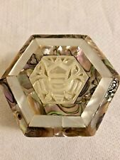 """Jewelry box Mother of Pearl and Olive Wodd  hexagonal. 2""""x2"""""""