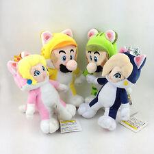 4PCS Super Mario Bros 3D World Cat Mario Luigi Princess Peach Rosalina Plush Toy