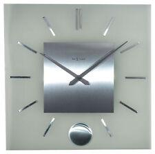 Nextime Horloge Murale Rayure Pendulum Square 40x40cm Horloge à Pendule Verre