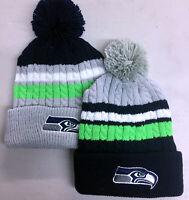 Seattle Seahawks Pom Pom Beanie Skull Cap Hat Embroidered SEA