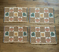 Vintage Set Of 4 Fall Autumn Thanksgiving Tapestry Placemats Leaves Pumpkins