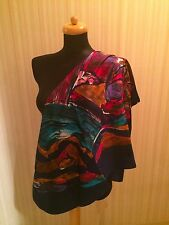 Gorgeous Navy Blue Silky Abstract Print Scarf -made in Italy NWOT
