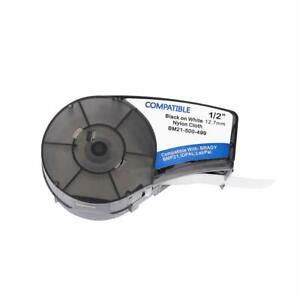 Compatible with Brady Labeler B-499 Tape 1/2 in Black on White 12.7mm Cartridge