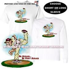 Baseball Player Pitcher Pitching Fear .. Be Afraid Cartoon Art Custom T Shirt