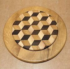 Large Rotating Double Layer Round Wooden Cheese Serving Board Geometric Design