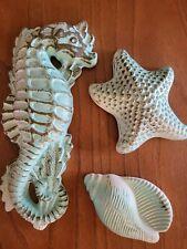 Mc Trio Vntg Miller Chalkware Turquoise Gold Seahorse Seashell Ocean RetroDecor