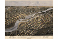 Map of Minneapolis, Minnesota; 1867; Antique Birdseye Map