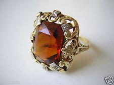 Noble & antigua 585 anillo de oro con farbstein cognac 4,9 G/17,8 mm