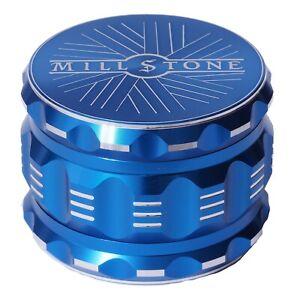 Millstone Tobacco Herb Grinder 4-Piece Metal 2.5 inch Large Magnetic Top Blue