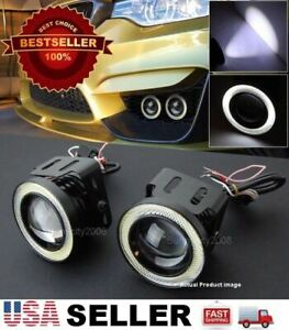 """Pair 3"""" White DRL COB LED Halo Ring Driving Projector Lens Fog Light For Nissan"""