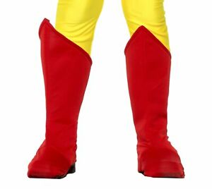 Superhero Red Boot Tops Shoe Covers Boys Girls Halloween Costume Accessory