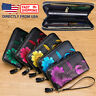 Women's RFID Block Genuine Leather Floral Print Large Capacity Clutch Wallet