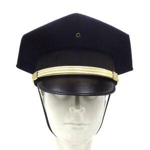 US Police 8 Point Visor Cap - Blue Vintage American Force Officer Hat All Sizes