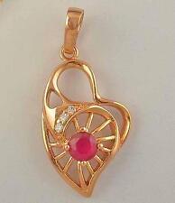 Lindo Rosa Oro Lleno Gf calado Circón CZ & Ruby Colgante de corazón.