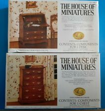Lot 2 The House of Miniatures Dollhouse Chippendale Desk & Chest On Chest