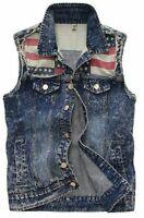 1pc Men's Denim Vest Weskit Sleeveless Jean Jackets Motorcycle Waistcoat Vest
