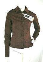 Camicia Donna Camicetta SPORTMAX by Max Mara Maniche Lunghe Marrone D672 Tg 44