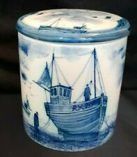 IDEN Pottery Hand Painted & Signed G Forshaw Fishing Boats Lidded Jar 1996