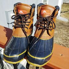 Ozark Trail Duck Boots Leather Upper Size 8 Mens Pike Brown and Black EUC