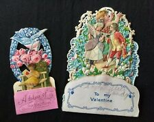 Two Antique 1920s Valentine's Day litho cards, vintage pop-ups, Victorian style