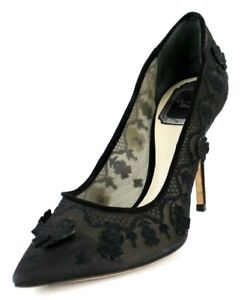 CHRISTIAN DIOR Black Mesh Embroidered Applique Pointed Toe Pumps 37.5