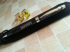 Ferrari cufflinks pen gift set 24ct gold plated velvet pouch black ink quality