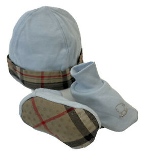Burberry Baby Boy Set Two Piece Hat & Booties Nova Check Trim/Sole Baby Blue 18M