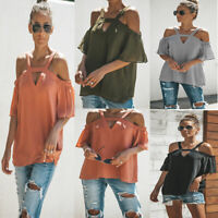 UK Women Summer Holiday  V-Neck Tops Ladies Cold Shoulder Loose Casual T-Shirts