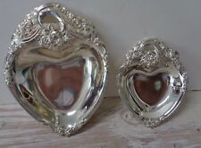 Candy Dish Set Heart Shaped Japan 6 by 5 and 8 by 6 Silverplate