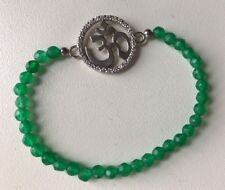 Green Onyx Faceted Bead Bracelet With Sterling Silver White Sapphire Om Aum