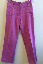 Ladies Dash Trousers Size 12 Pink Linen Cotton Blend <B3178